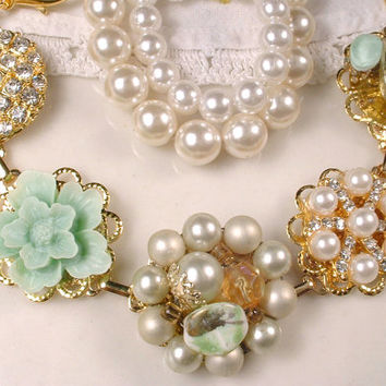 OOAK Mint Green & Ivory Pearl Rhinestone Gold Bridal Bracelet, Sage Vintage Earring Bridesmaids Gift, Charm Bracelet Shabby Chic Country