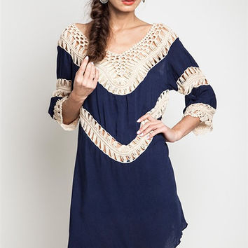 Crochet Knit Tunic Navy