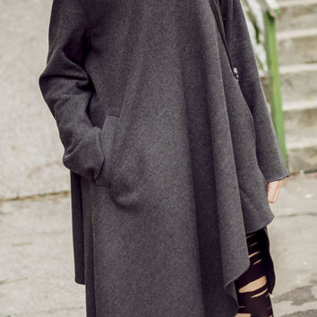 Asymmetrical Wool Hooded Coat / Charcoal Grey Winter Coat TC35