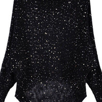 High Low Black Jumpers with Sequin Embellishment