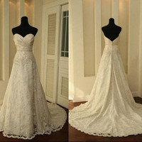 Custom make Vintage A LINE Lace Wedding Dress Bridal Gown Bridesmaid Dress Evening Prom Dress