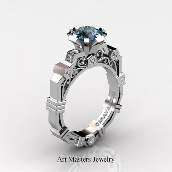 Caravaggio Modern 14K White Gold 1.0 Ct Swiss Blue Diamond Engagement Ring R624-14KWGDBT