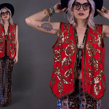 vintage 80s red SILK gold sequin vest boho bohemian ornate trophy vibrant gypsy large xl india festival top