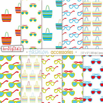 Fashion Digital Paper Fashion Print Background Fashion Pattern Bags Print Sunglasses Print Green Red Paper Scrapbook Personal+Commercial Use