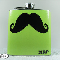 Mustache Flask WE PERSONALIZE FREE initials name monogram- Green Apple LR103