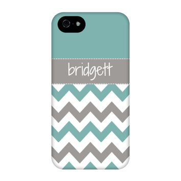 Teal-Grey Chevron Personalized Phone Case