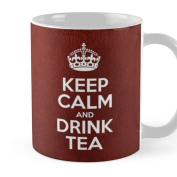 Keep Calm and Drink Tea - Glossy Red Leather