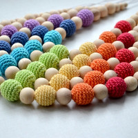 Mommy bead Teething necklace Rainbow Nursing necklace - Crochet Necklace - eco friendly - rainbow - multicolor colorful