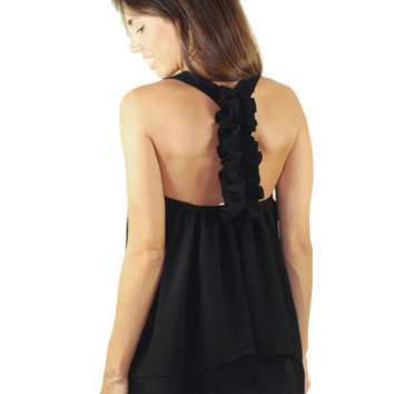 Black Top With Ruffle Racerback | Ruffle Back Top