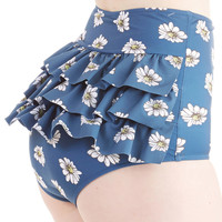 Vacation Daisies Swimsuit Bottom in Navy | Mod Retro Vintage Bathing Suits | ModCloth.com