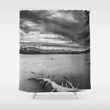 Windy sunset Monochrome Shower Curtain by Guido Montañés
