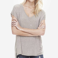 ONE ELEVEN DROP HEM TUNIC TEE - HEATHERED from EXPRESS