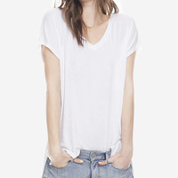 ONE ELEVEN DROP HEM TUNIC TEE - WHITE from EXPRESS