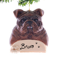 Bull Dog Christmas Ornament - Personalized Bull Dog Ornament - Handmade and painted bull dog ornament