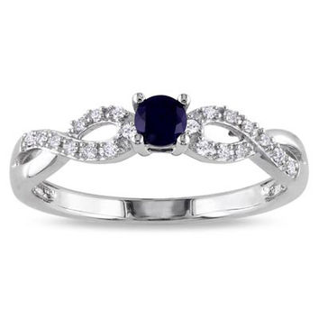 Lab-Created Blue Sapphire and Diamond Accent Promise Ring in Sterling Silver