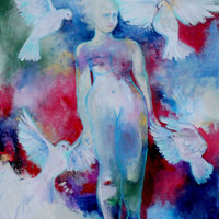 "Acrylic Nude Figure Painting, Colorful Modern Art on Canvas, Woman and Dove, Blue, White, Red ""Walk Forward in Peace"" 24x30"