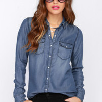 Western Formal Blue Button-Up Top