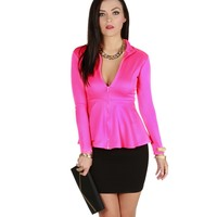 Fuchsia Pep Up Peplum Jacket
