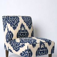 Slipper Chair - Indigo Ikat