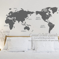 map of world Vinyl wall decals wall mural wall sticker Urben - world map Z150 by cuma