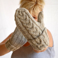 Long mittens wool cable knit oatmeal by socksandmittens on Etsy