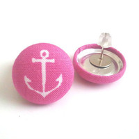 Fuchsia pink with white anchors nautical sailor fabric button earrings