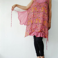 NO.71    Pink Cotton Paisley Printed Layered Tunic Top