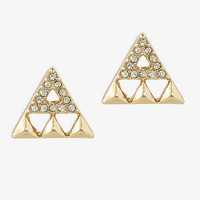 CUT-OUT TRIANGLE AND PAVE STUD EARRINGS from EXPRESS