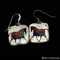 The Patchwork Hunter Earrings. Horse.