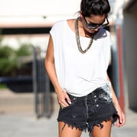 Black Fringe Distressed Handmade Denim Levi Cutoffs - All Out