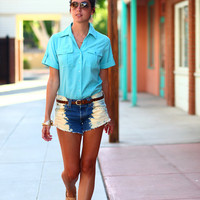 Turquoise Collared Button Up Two Pocket Safari Blouse - Kenya