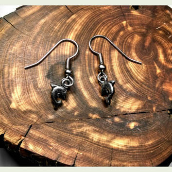 Handmade Tiny Dolphin Earrings on Surgical Steel Hooks In Antique Silver Holiday Gift Athena Handcrafted Flipper Echo Hypoallergenic Jewelry