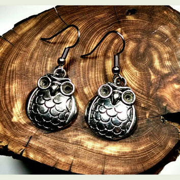 Handmade Owl Earrings on Surgical Steel Hooks In Antique Silver Gift Handcrafted Harry Potter Hedwig Hypoallergenic Jewelry Athena