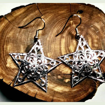 Handmade Christmas Star Silver Treetopper Earrings Surgical Steel Hooks Snow Winter Festive Holiday Xmas Handcrafted Hypoallergenic Jewelry