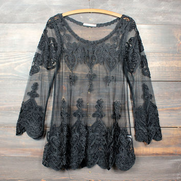 sheer vintage inspired lace beach cover up tunic - black