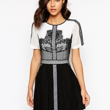 Karen Millen Dress in Graphic Lace Embroidery