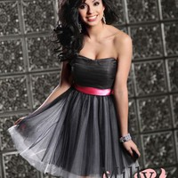 pictures of Strapless red sash black tulle mini short Prom Dresses 2012 PDM336
