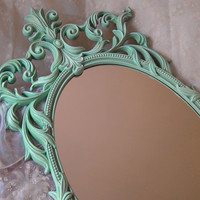 Large Vintage French Oval Wall Mirror Shabby Aqua Hollywood Regency Turner Victorian