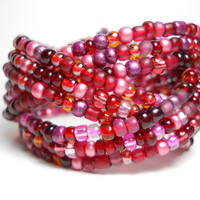 Braided Cuff Bracelet Cranberry Wine Beaded Cuff Bracelet