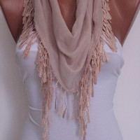 Creamy Scarf Shawl Headband - Cowl with Lace Edge