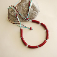 Jewelry Necklace Burgundy Clay Curved Tube Beads Trio of Ribbons