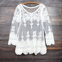 sheer vintage inspired lace beach cover up tunic - ivory