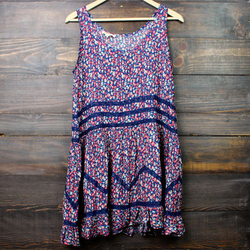 hello spring floral trapeze slip dress