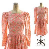 80s Laura Ashley Floral Cotton Sweetheart Dress