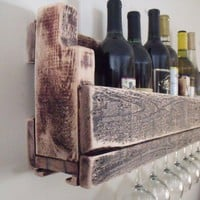 Reclaimed wood wine rack with stem holder