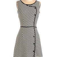 ModCloth 60s Mid-length Sleeveless A-line Chord-ially Yours Dress in Stripes