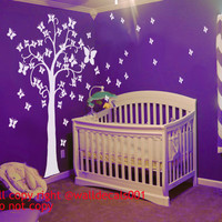 Vinyl Wall Decal Wall sticker,baby decal nursery decal wall decor,Tree Decal butterfly Decal -Butterflies tree for baby nursery