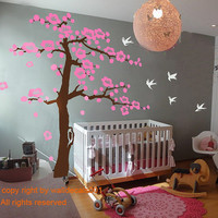 Vinyl  Wall Decal tree decal cherry blossom decal  baby decal flower decal nursery Decal room decor- Cherry Blossom Tree100""