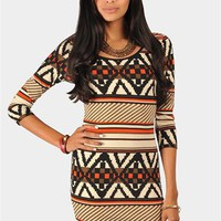 Rory Tribal Sweater Dress - Orange at Necessary Clothing