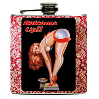 Pin up girl 6oz Hip Flask. Beautiful pin up featured on this flask with the words bottoms up on a vintage red and ivory background